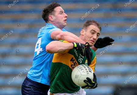 Dublin vs Kerry. Dublin's Philly McMahon concedes a penalty for tackling Stephen O'Brien of Kerry