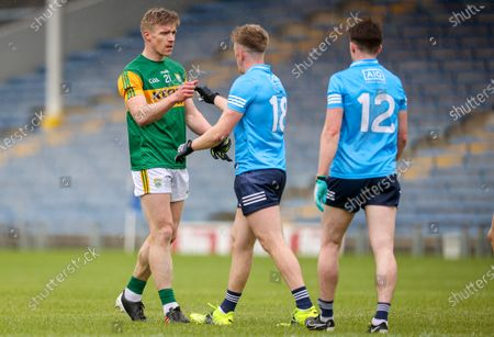 Dublin vs Kerry. Kerry's Tommy Walsh after the game with Ryan Basquel of Dublin