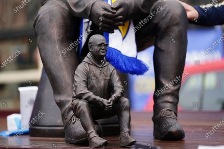 sculpture of Leeds United's manager Marcelo Bielsa on display before the English Premier League soccer match between Leeds United and West Bromwich Albion in Leeds, Britain, 23 May 2021.