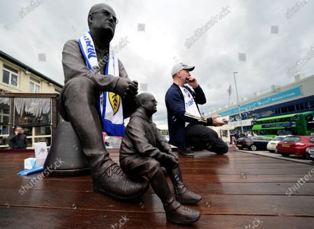 Sculptures of Leeds United's manager Marcelo Bielsa on display before the English Premier League soccer match between Leeds United and West Bromwich Albion in Leeds, Britain, 23 May 2021.