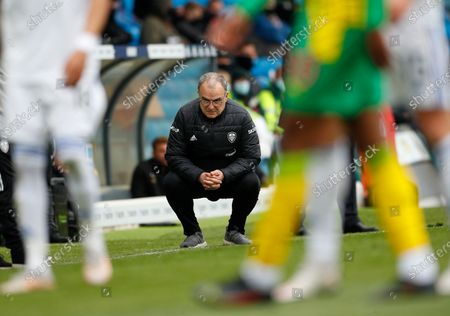 Leeds United's head coach Marcelo Bielsa on the touchline during the English Premier League soccer match between Leeds United and West Brom at Elland Road in Leeds, England
