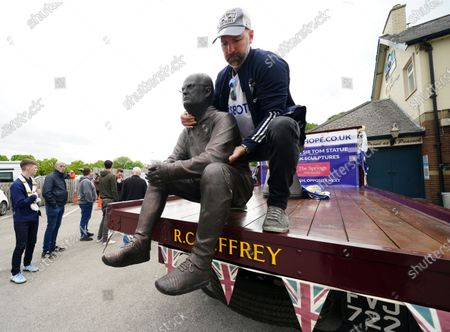 Statue of Leeds United's head coach Marcelo Bielsa is unloaded from a truck before the English Premier League soccer match Leeds United and West Brom at Elland Road in Leeds, England