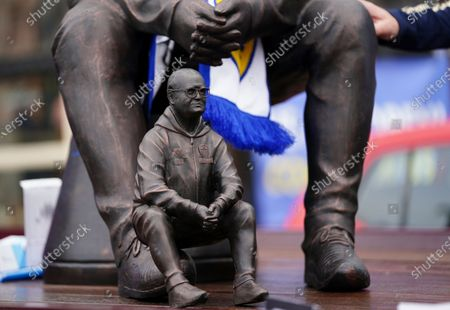 Statue of Leeds United's head coach Marcelo Bielsa on display before being unloaded from a truck before the English Premier League soccer match Leeds United and West Brom at Elland Road in Leeds, England