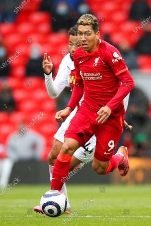 Liverpool forward Roberto Firmino (9) during the Premier League match between Liverpool and Crystal Palace at Anfield, Liverpool