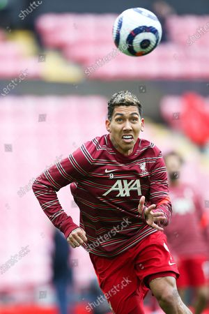 Liverpool forward Roberto Firmino (9) warming up during the Premier League match between Liverpool and Crystal Palace at Anfield, Liverpool