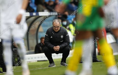 Leeds United's manager Marcelo Bielsa reacts during the English Premier League soccer match between Leeds United and West Bromwich Albion in Leeds, Britain, 23 May 2021.