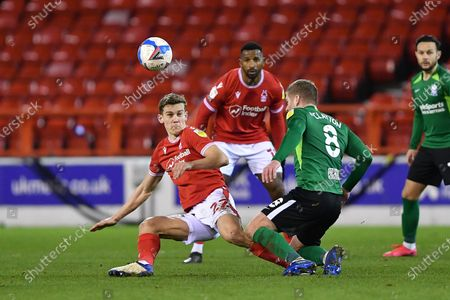 Ryan Yates of Nottingham Forest battles with Adam Clayton of Birmingham City during the Sky Bet Championship match between Nottingham Forest and Birmingham City at the City Ground, Nottingham on Saturday 26th December 2020.