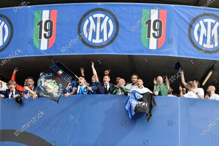 Stock Picture of Inter Milan Argentine ormer player Javier Zanetti waves a flag as he celebrates with the team after clinching the Serie A title, at the end of the Serie A soccer match between Inter Milan and Udinese, at the San Siro stadium in Milan, Italy