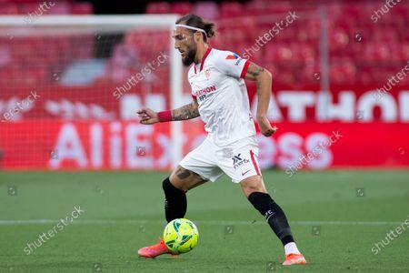 Stock Image of Nemanja Gudelj of Sevilla during LaLiga, football match played between Sevilla Futbol Club and Deportivo Alaves  at Ramon Sanchez Pizjuan Stadium on May 23, 2021 in Sevilla, Spain.