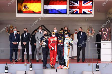 Pierre Casiraghi, Andrea Casiraghi, Race winner Max Verstappen of Netherlands and Red Bull Racing, second placed Carlos Sainz of Spain and Ferrari third placed Lando Norris of Great Britain