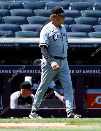 Chicago White Sox manager Tony La Russa is seen walking out onto the field during a pitching change against the New York Yankees in the top of the fifth inning of their MLB game in the Bronx, New York, USA, 23 May 2021.