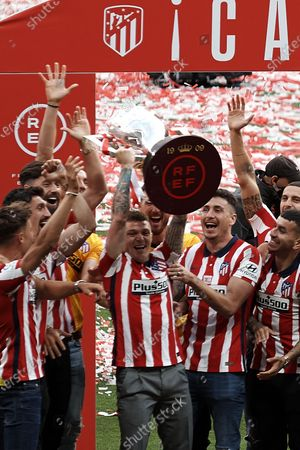 Kieran Trippier of Atletico Madrid lifts the trophy during the presentation ceremony of the La Liga 20/21 championship trophy at Estadio Wanda Metropolitano on May 23, 2021 in Madrid, Spain.