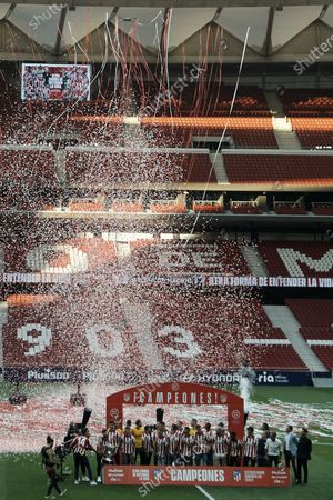 Atletico players during the presentation ceremony of the La Liga 20/21 championship trophy at Estadio Wanda Metropolitano on May 23, 2021 in Madrid, Spain.