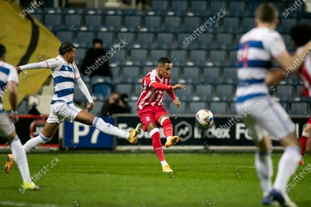 Thomas Ince of Stoke City kicks the ball during the Sky Bet Championship match between Queens Park Rangers and Stoke City at Loftus Road Stadium, London on Tuesday 15th December 2020.