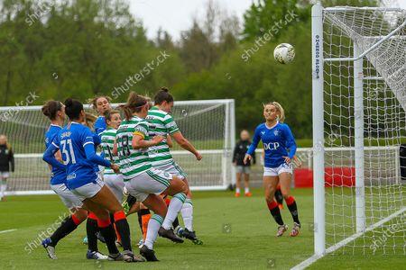 GOAL! - 0-1 Kelly Clark (#15) of Celtic Women FC opens the scoring with this close range header during the Scottish Building Society Scottish Women's Premier League 1 Fixture Rangers FC vs Celtic FC, Rangers Training Complex, Milngavie, East Dunbartonshire, 23/05/2021 | Credit Colin Poultney/ProSportsImages