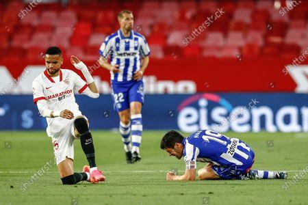 Marcos Acuna of Sevilla FC and Youssef En Nesyri of Sevilla FC