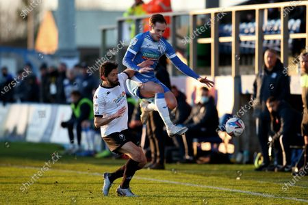 Barrows Joshua Kay battles with Salfords Jason Lowe  during the Sky Bet League 2 match between Barrow and Salford City at the Holker Street, Barrow-in-Furness on Saturday 5th December 2020.