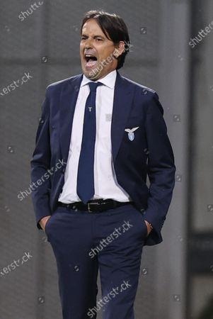 Lazio's coach Simone Inzaghi reacts during the Italian Serie A soccer match US Sassuolo vs SS Lazio at Mapei Stadium in Reggio Emilia, Italy, 23 May 2021.