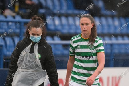 Kelly Clark of Celtic goes off injured during the Scottish Womenâ€s Premier League 1 match between Rangers and Celtic at Rangers Training Centre in Glasgow, Scotland.