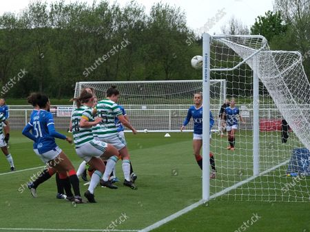 Kelly Clark of Celtic heads home to make it 0-1 during the Scottish Womenâ€s Premier League 1 match between Rangers and Celtic at Rangers Training Centre in Glasgow, Scotland.