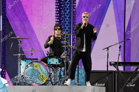 Twenty One Pilots, from left, Josh Dun and Tyler Joseph, perform at the Billboard Music Awards, at the Microsoft Theater in Los Angeles
