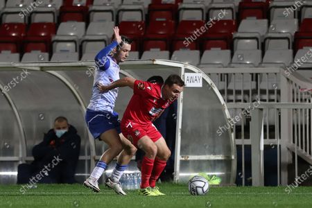 Stock Photo of Luke Molyneux of Hartlepool United battles with Paul Rutherford of Wrexham  during the Vanarama National League match between Hartlepool United and Wrexham at Victoria Park, Hartlepool on Tuesday 17th November 2020.
