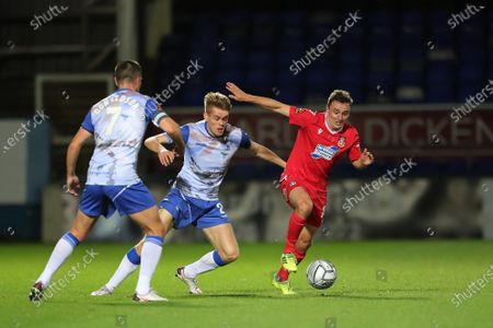 Paul Rutherford of Wrexham in action with Hartlepool United's Lewis Cass   during the Vanarama National League match between Hartlepool United and Wrexham at Victoria Park, Hartlepool on Tuesday 17th November 2020.