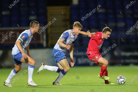 Stock Picture of Paul Rutherford of Wrexham in action with Hartlepool United's Lewis Cass   during the Vanarama National League match between Hartlepool United and Wrexham at Victoria Park, Hartlepool on Tuesday 17th November 2020.