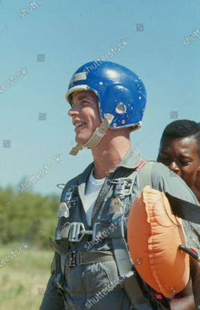 David Randolph Scott, wearing a helmet during a life support training, United States, 1968.