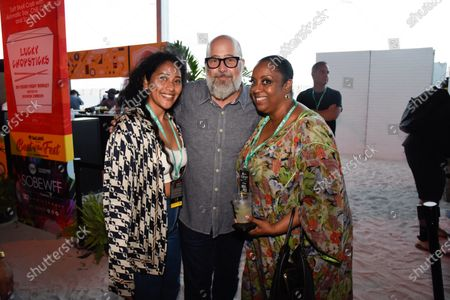 From left, Jaz Johnson, Andrew Zimmerman and Chef Melba Wilson - owner of Melba's restaurant in NYC, attends Bacardi presents Best of the Fest