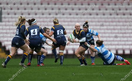 Amy Orrow of Darlington Mowden Park Sharks and Heather Fisher of Worcester Warriors Women during the WOMEN'S ALLIANZ PREMIER 15S match between Darlington Mowden Park Sharks and Worcester Warriors at the Northern Echo Arena, Darlington on Saturday 17th October 2020.