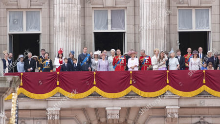 The Royal Family on the balcony of Buckingham Palace - Lord and Lady Nicholas Windsor, Duke and Duchess of Gloucester, Tim Laurence, Princess Anne, Princess Eugenie, Princess Beatrice, Prince William, Prince Edward, Sophie, Countess of Wessex, Queen Elizabeth II, Prince and Princess Michael of Kent, Prince Philip, Camilla, Duchess of Cornwall, Prince Charles, Lady Helen Taylor, Duchess of Kent, Duke of Kent, Sylvana Windsor Countess of Saint Andrews, George Windsor Earl of St Andrews, Serena Linley, Tim Taylor