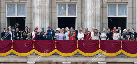 Royal family on the balcony of Buckingham Palace - Lord and Lady Nicholas Windsor, Duke and Duchess of Gloucester, Tim Laurence, Princess Anne, Princess Eugenie, Princess Beatrice, Prince William, Prince Edward, Sophie, Countess of Wessex, Queen Elizabeth II, Prince and Princess Michael of Kent, Prince Philip, Camilla, Duchess of Cornwall, Prince Charles, Lady Helen Taylor, Duchess of Kent, Sylvana Windsor Countess of Saint Andrews, George Windsor Earl of St Andrews, Serena Linley, Tim Taylor, Margarita Armstrong-Jones and Lord Linley