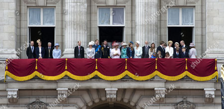 Royal family on the balcony of Buckingham Palace - Lord and Lady Nicholas Windsor, Duke and Duchess of Gloucester, Prince Edward, Sophie, Countess of Wessex, Prince William Tim Laurence, Princess Eugenie, Camilla, Duchess of Cornwall, Princess Alexandra of Kent, Princess Beatrice, Prince and Princess Michael of Kent, Margarita Armstrong-Jones, Lady Helen Taylor, Serena Linley, George Windsor Earl of St Andrews and Sylvana Windsor Countess of Saint Andrews