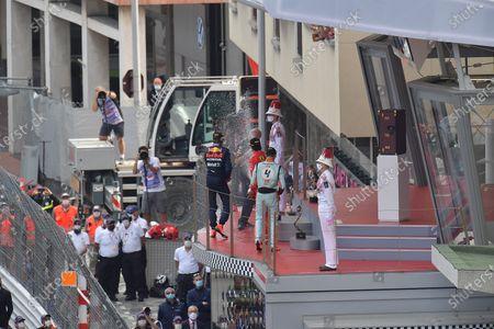 Podium: Winner Max Verstappen (NEL #33), Red Bull Racing Honda, 2nd place for Carlos Sainz Jr. (ESP #55), Scuderia Ferrari Mission Winnow, 3rd place for Lando Norris (GBR #4), McLaren F1 Team, Prince Albert II of Monaco, Andrea Casiraghi and Stephano Casiraghi.