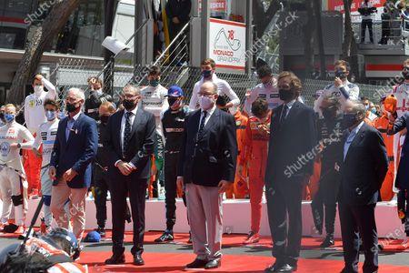 Stefano Domenicali, Prince Albert II of Monaco, Andrea Casiraghi, FIA President Jean Todt.