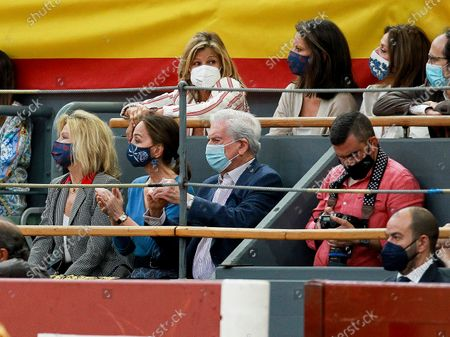 Stock Picture of Bullfighters Diego Urdiales, Manzanares and Roca Rey during the bullfighting show performance at Vistalegre bull round in Madrid on May 21, 2021. Socialite Isabel Preysler and Uruguayan Literature Nobel Prize Mario Vargas Llosa ; Cari Lapique; Elena Cue