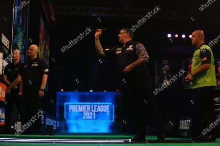 Gary Anderson in action against Michael van Gerwen; Marshall Arena, Milton Keynes, Buckinghamshire, England; Professional Darts Corporation, Unibet Premier League Night 14 Milton Keynes.