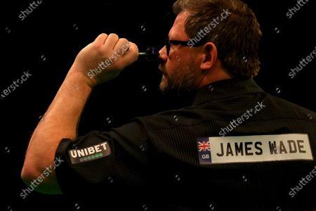 James Wade in action against Nathan Aspinall; Marshall Arena, Milton Keynes, Buckinghamshire, England; Professional Darts Corporation, Unibet Premier League Night 14 Milton Keynes.