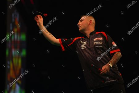 Nathan Aspinall in action against James Wade; Marshall Arena, Milton Keynes, Buckinghamshire, England; Professional Darts Corporation, Unibet Premier League Night 14 Milton Keynes.