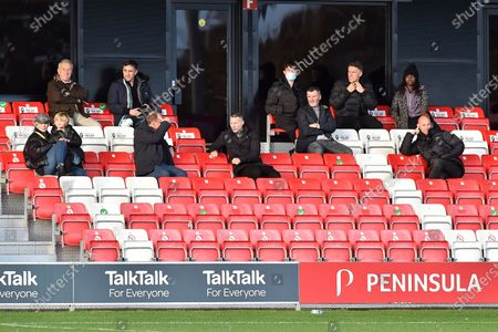 Former Manchester United captain Roy Keane sitting with his former Class Of 92 team mates during the Sky Bet League 2 match between Salford City and Oldham Athletic at Moor Lane, Salford on Saturday 31st October 2020.