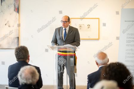 Brussels Mayor Philippe Close pictured during a commemoration of the 2014 terror attack on the Jewish museum in Brussels, Monday 24 May 2021. On 24 May 2014 four people were killed during a shooting at the museum.