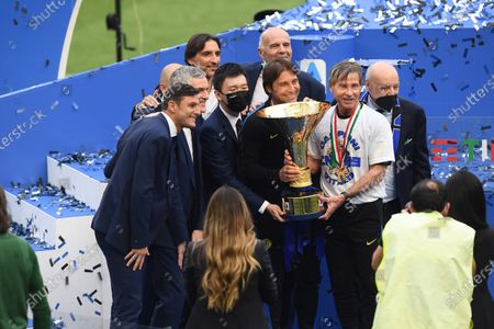 """Javier Zanetti (Inter)Steven Zhang (Inter)Antonio Conte Coach (Inter)Gabriele Oriali (Inter)Giuseppe Marotta (Inter)           during the Italian   """"Serie A  match between Inter 5-1 Udinese at  Giuseppe Meazza  Stadium in Milan, Italy."""