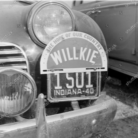 Stock Image of Wendell Willkie's campaign sign during his acceptance speech in Elwood, Indiana, 17th August 1940.