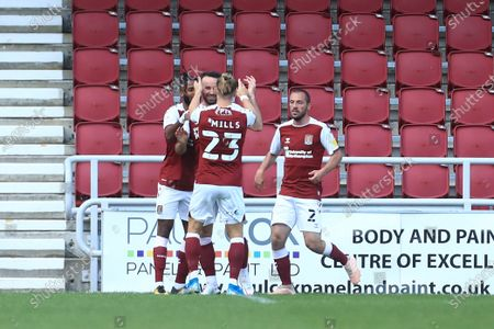 Stock Image of Matt Warburton of Northampton Town scores his sides second goal during the Carabao Cup match between Northampton Town and Cardiff City at the PTS Academy Stadium, Northampton.