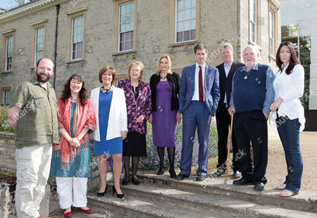 Lineup of speakers. L-R. Gerald Dickens, Suzi Feay, Lynda Bellingham, Lady Antonia Fraser, Helen Rappaport, Patrick Hennessey, Earl Spencer, Joss Ackland and Fiona Lindsay