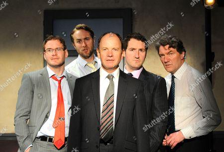 'Women, Power and Politics' - John Hollingworth (Jason), Simon Chandler (David), Oliver Chris (Chris), Felix Scott (Bill) and Tom Mannion (Maurice)