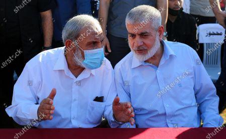 Editorial picture of Senior Hamas leaders, Rouhi Mushtaha and Mahmoud Al-Zahar attend a rally in Gaza City, Gaza city, Gaza Strip, Palestinian Territory - 24 May 2021