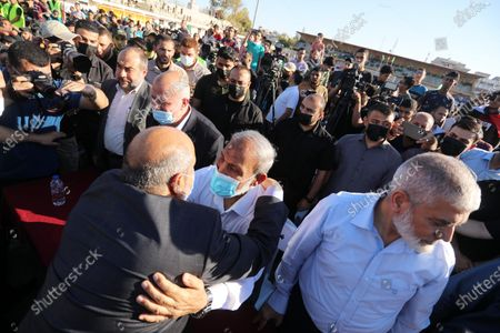 Stock Picture of Senior Hamas leaders, Rouhi Mushtaha and Mahmoud Al-Zahar attend a rally in Gaza City on May 24, 2021. A ceasefire was reached late last week after 11 days of deadly violence between Israel and the Hamas movement which runs Gaza, stopping Israel's devastating bombardment on the overcrowded Palestinian coastal enclave which, according to the Gaza health ministry, killed 248 Palestinians, including 66 children, and wounded more than 1,900 people. Meanwhile, rockets from Gaza claimed 12 lives in Israel.