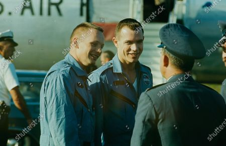 Neil Armstrong (L) and David Randolph Scott (R) arriving at Cape Canaveral, Florida, United States, 1966.
